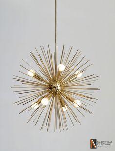 """8 Lights Mid Century Modern Brass Sputnik Urchin Chandelier Light Fixture - 22""""D #Nauticalvintage #Modern"""