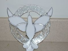 Handmade stained glass white dove Christmas tree topper