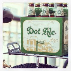 Beerking! Biking while carrying a six pack of Dot Ale.
