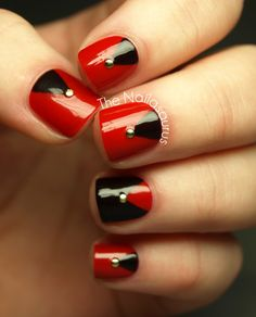 I used Rimmel Heart on Fire as my base colour on every nail and then freehanded on the chevrons at the base using a nail art brush and W7 Black Cherry. For the accent nail, I painted everything but the chevron with the W7 polish. The studs are from Born Pretty Store and I finished with a top coat of NYC.