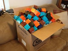 These 432 gift boxes from oriental trading were used in the minecraft birthday scavenger hunt