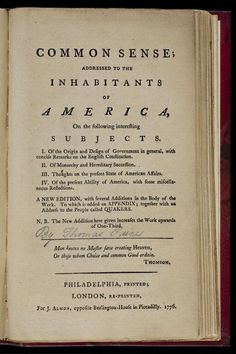 Common Sense, by Thomas Paine