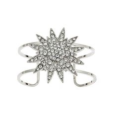 Yochi Starburst Cuff ($84) ❤ liked on Polyvore featuring jewelry, bracelets, accessories, cuffs, deco jewelry, art deco jewelry, polish jewelry, yochi and cuff jewelry