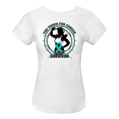 Ovarian Cancer Too Tough For Cancer...I'm a Survivor slogan on Women's Fitted T-Shirts featuring a female silhouette posing with strength and an awareness ribbon for activism