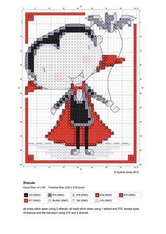 cross stitch design by Durene Jones #free #chart #vampire #halloween #cute