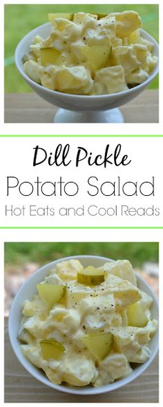 Dill Pickle Potato Salad Recipe Sure to be a new family favorite! The tangy flavor of the dill pickles adds a delicious pop of flavor to this salad! Dill Pickle Potato Salad from Hot Eats and Cool Reads! Potato Dishes, Potato Recipes, Food Dishes, Side Dishes, Dill Pickle Potato Salad Recipe, Dill Pickle Recipes, Dill Pickle Soup, Cooking Recipes, Healthy Recipes