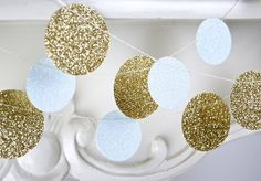 Glitter Paper Garland, Gold and White, Bridal Shower, Baby Shower, Party Decorations, Birthday Decor on Etsy, £2.77