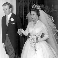 """Princess Margaret, the late sister of Queen Elizabeth II, made a lovely bride in an elegantly simple dress - though that magnificent tiara does keep things from being TOO simple. """"Princess Margaret and Antony Armstrong-Jones"""" May Princess Margaret Wedding, Poltimore Tiara, Wedding Bride, Wedding Gowns, Prinz Carl Philip, Victoria Wedding, Royal Weddings, Maid Of Honor, Royals"""