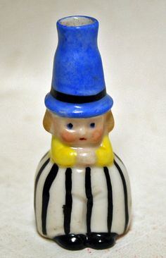 Vintage German Crown Top Porcelain Figural Perfume Scent Bottle Boy Striped Pant