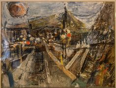 Boston & Rockport Artist EVELYN KROLL SHINDLER. MODERNIST ABSTRACT COLLAGE on PAPER URBAN LANDSCAPE.(sold)