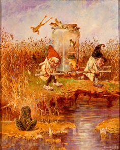 Gnomes Transporting Frogs   Heinrich Schlitt