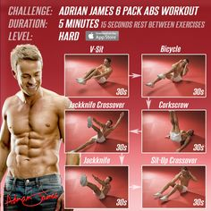 6 pack ab workout.  3 levels to choose from: easy, medium, hard