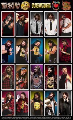 "Evolution of ""The Hardcore Legend"" Mick Foley/Mankind/Dude Love/Cactus Jack Wrestling Posters, Wrestling Wwe, Lucha Underground, Undertaker, Wwe All Superstars, Mick Foley, Wwe Pictures, Ranger, Wwe Tna"