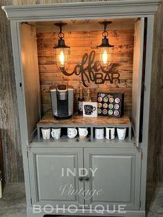 Armoire Bar, Bar Hutch, Coffee Bars In Kitchen, Coffee Bar Home, Coffee Bar Ideas, Coffe Bar, Wine And Coffee Bar, Armoire Makeover, Furniture Makeover