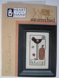 Heart in Hand Wee One Autumn Bird cross stitch