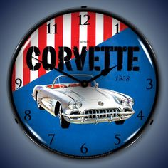 1958 Corvette The clock measures 14 inches across. The outer lens is made from high quality optical lexan held in place with 3 removable rivets. It's scratch resistant and won't yellow over time. The advertisement face is cut out by a CNC router and the image is placed with a UV dried computer controlled printing process that …
