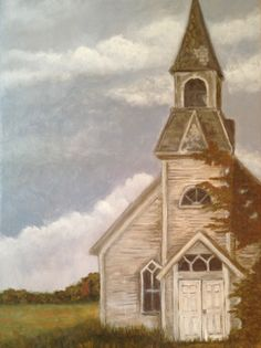 White Church By a Field Acrylic on canvas 12x16