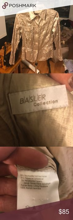 Basler Collection champagne lightweight jacket Basler Collection champagne, Metallic, lightweight, button up, fitted, crinkle jacket. No flaws. Amazing condition. Super rare and gorgeous! Basler Jackets & Coats