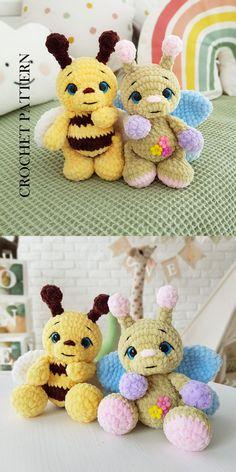 Crochet Bee, Crochet Flowers, Crochet Toys, Plush Pattern, Free Pattern, Halloween Crochet Patterns, Crochet Ideas, Crochet Monsters, Llama Alpaca