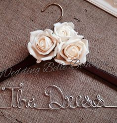 Personalised Wedding Dress Coat Hanger With Roses In Any ColourAny Wording❤Bride