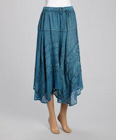 Another great find on #zulily! Blue Handkerchief Hem Peasant Skirt #zulilyfinds