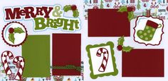 Merry and Bright Page Kit Out on a Limb Scrapbooking Christmas Scrapbook Layouts, Birthday Scrapbook, Baby Scrapbook, Scrapbooking Ideas, Christmas Layout, Christmas Ideas, Xmas, Scrapbook Sketches, Scrapbook Page Layouts