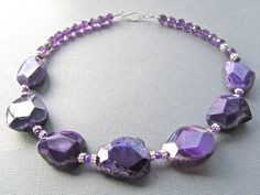 Chunky Statement Necklace Purple Faceted Agate Slabs by PrairieIce, $90.00