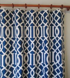 """Pair of 25"""" Rinaldi Kemble in blue and natural trellis panels, drapes, LIVE PLUSH ON ETSY curtains - 25x63"""" 25x84"""" 25x96"""" or 25x108"""" also in fawn, slate"""