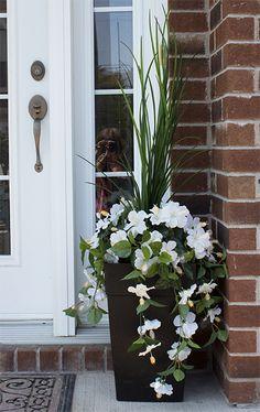Jardinière en pot, hibiscus blancs 40''