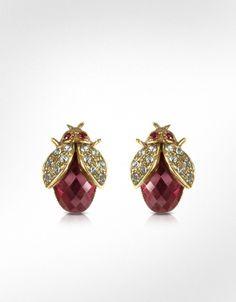 Alcozer & J • Garnet Crystal Bee Earrings • Product Code: ac35279-001-00 • $172.00 at FORZIERI.COM