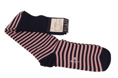LUIGI BORRELLI Napoli Navy Blue Pink Striped Cotton Blend Knee High Socks NEW 11