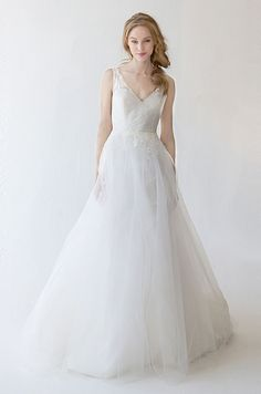 A romantic tulle wedding dress by Kelly Faetanini, Spring 2015