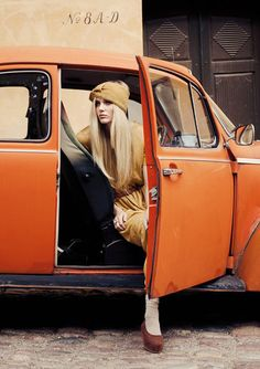 I didn't look like that. but I did have an orange beetle. 'I miss you jaffah' Glamorous Chic Life, Orange Aesthetic, Orange You Glad, Vw T1, Volkswagen Bus, Orange Crush, Vogue Uk, Orange Is The New Black, Happy Colors