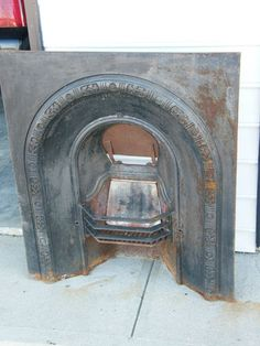Antique Ornate Cast Iron Fireplace Front with Coal Grate | eBay ...