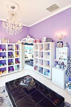 Purple walls with white accent. Such a clean look closet