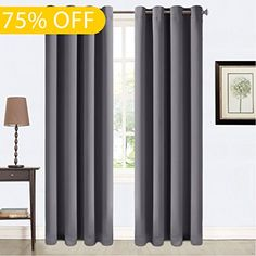Balichun 2 Panels Blackout Curtains Thermal Insulated Grommets Drapes for Patio 52 by 95 Inch Dark Grey * Check out this great product. #ModernHomeDecor