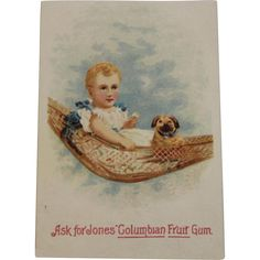 Jones Columbian Fruit Gum Trade Card Baby with Puppy in Hammock