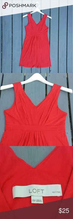 """*LOFT* Petite Red Dress with Gather at Waist Cute light weight dress that can be easily dressed up or down. Features a gather at the waist to accentuate. Dress falls 2"""" above the knees for someone who's 5'5"""". Top part of the dress is lined.   Rayon/spandex/polyester LOFT Dresses Mini"""