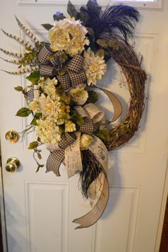 looove this, this can-can inspired, or bonnet-esque wreath...bouffant, perhaps?? Midnight in Paris Summer Wreath Shabby by Motherdaughterflowe1, $125.00