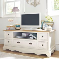 Cottage style shabby chic distressed TV or media cabinet Shabby Chic Furniture, Painted Furniture, Bedroom Furniture, Diy Furniture, Furniture Market, Corner Unit Living Room, 3 Living Rooms, Tv Vintage, Tv Stand With Storage