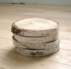 White Birch Wood coasters - Wedding favors. Solder in wedding date and names