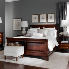 grey walls with wood furniture for bedroom - Google Search