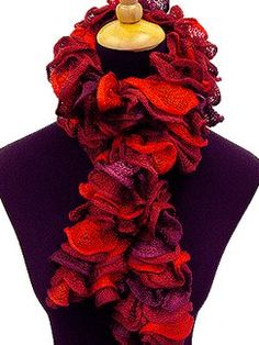 Flounce scarves - knit with the top of holes and BAM! Pretty scarf
