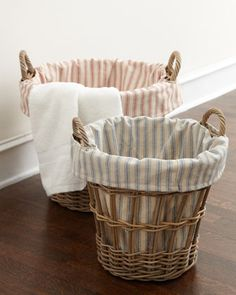 Wicker+Laundry+Baskets+with+Ticking-Stripe+Liners+by+French+Laundry+Home+at+Horchow.