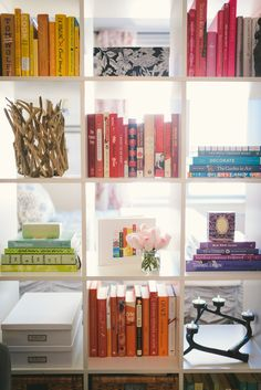 Love this shelf that doubles as a room divider. Jacqueline Clair's NYC Studio Tour // home // decor // // decorating on a // living room // room divider // shelf styling // ikea // Photography by Kate Ignatowski Ikea Room Divider, Bookshelf Room Divider, Fabric Room Dividers, Bamboo Room Divider, Living Room Divider, Hanging Room Dividers, Folding Room Dividers, Ikea Bookcase, Ikea Expedit