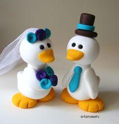 Custom Duck Wedding Cake Topper White by fliepsiebieps on Etsy