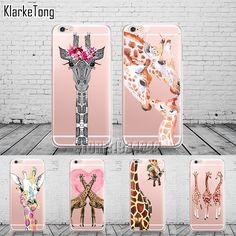 Cute Animals Three Flower Giraffe Case Cover For iphone 6 6S 7 7Plus Transparent with design Soft Silicone Fundas Coque