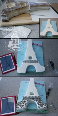 The last few steps of the Eiffel Tower cake tutorial.