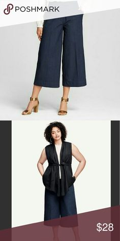 Who What Wear Ankle Crop Pants Pants feature  tailored look  wide-leg cut Indigo Blue Front zipper Button & clasp closure  Two front side pockets  Two back faux pockets  77% Cotton  22% polyester  1 % spandex Who What Wear  Pants