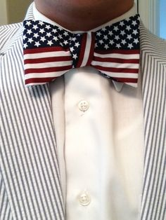 Perfection: Seersucker and an American flag bowtie